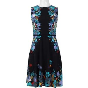 Flawless Floral Print Dress(L1904M/BLACK AQUA)